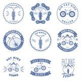 Crachás do aluguel da bicicleta e elementos gordos do projeto das etiquetas Vetor Foto de Stock Royalty Free