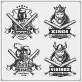 Crachás do basebol, etiquetas e elementos do projeto Emblemas do clube de esporte com viquingue, rei, cavaleiro e cruzado ilustração do vetor