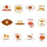 Crachás do logotipo da padaria e etiquetas, ícones Fotos de Stock Royalty Free