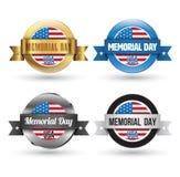 Crachás do Memorial Day ajustados Fotos de Stock Royalty Free