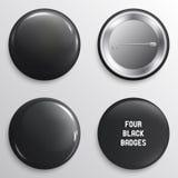 Crachás do preto da placa do vetor ou botões lustrosos da Web ilustração royalty free