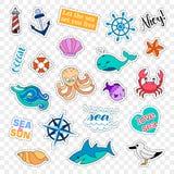Crachás do remendo da forma Grupo do mar etiquetas, pinos, remendos e coleção escrita à mão das notas no estilo cômico dos desenh Fotografia de Stock