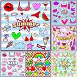 Crachás do remendo do verão da forma Imagem de Stock Royalty Free