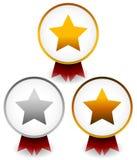 Crachás dourados, de prata, de bronze da estrela com fitas Concessão, prêmio, c Foto de Stock