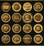 Crachás dourados do metal, ilustração Imagens de Stock