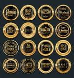 Crachás dourados e etiquetas do vintage retro da venda Foto de Stock