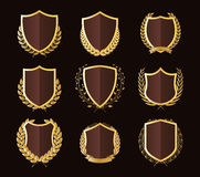 Crachás dourados luxuosos Laurel Wreath Collection ilustração do vetor