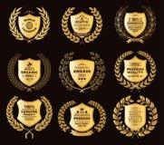 Crachás dourados luxuosos Laurel Wreath Collection ilustração stock