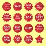 crachás e etiquetas vermelhos Fotos de Stock