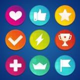Crachás e moedas do gamification do vetor Fotografia de Stock Royalty Free