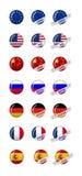 Crachás inteiramente editáveis da bandeira do mundo Imagens de Stock