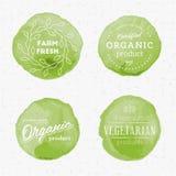 Crachás orgânicos da aquarela dos produtos Fotos de Stock Royalty Free
