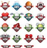 Crachás ou logotipos de nomes das equipes de esportes como os protetores na cor ilustração do vetor