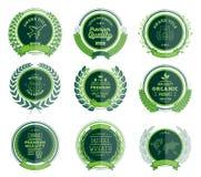 Crachás verdes luxuosos Laurel Wreath Collection ilustração do vetor