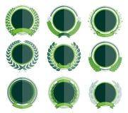 Crachás verdes luxuosos Laurel Wreath Collection Fotografia de Stock Royalty Free
