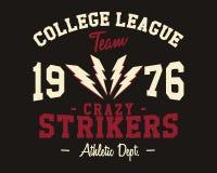 Crachá da liga da faculdade do futebol americano, logotipo Imagem de Stock Royalty Free
