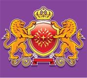 Crachá real da coroa do protetor dos leões Fotografia de Stock