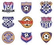 Crachás do futebol do futebol, remendos e grupo do vetor do emblema Fotos de Stock Royalty Free