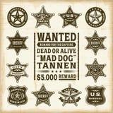 Crachás do xerife, do marechal e da guarda florestal do vintage ajustados Fotos de Stock Royalty Free