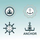 Crachás náuticos do vetor dos símbolos da âncora Imagens de Stock Royalty Free