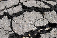 Crack asphalt. The cracked road surfacing, asphalt Royalty Free Stock Photography