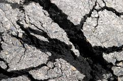 Crack asphalt. The cracked road surfacing, asphalt Royalty Free Stock Photo