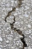 Crack in asphalt. Crack in old asphalt pavement close up Royalty Free Stock Images