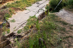 The crack asphalt paving. Stock Photo