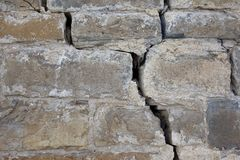 A crack on a big castle wall.  royalty free stock photography