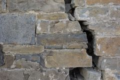 A crack on a big castle wall.  royalty free stock image