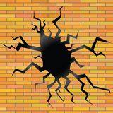 Crack on a brick background Royalty Free Stock Photography