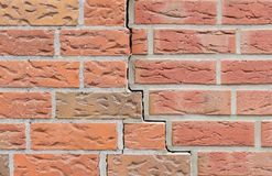 Crack in the Brick Wall. Background Pattern stock images