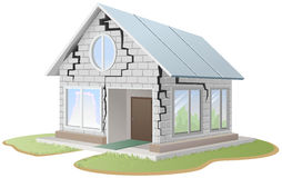Crack in brick wall of house. Illustration in vector format royalty free illustration
