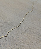 Crack in the concrete. A long crack in the concrete foundation Royalty Free Stock Photos