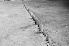 Crack in the concrete floor. Step in the walk. Royalty Free Stock Image