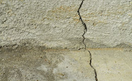 Crack in Concrete Foundation & Floor. A crack in the concrete foundation of a residential house. The top part of the photo is part of the footing of the Royalty Free Stock Photo