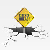 Crack Crisis Ahead. Detailed illustration of a cracked ground with yellow Crisis Ahead sign Royalty Free Stock Photo