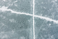 Crack cross on the blue ice of Lake Baikal Stock Images