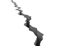 Crack. 3d-render of huge crack dividing a white surface Stock Photos