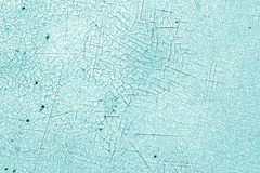Crack and damage on painted texture in cyan tone. Abstract background and texture for design stock photo