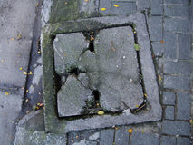 Crack drain cover Stock Photography