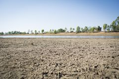 Crack dry ground on lake. Concept drought Stock Image