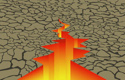 Crack in the earth. With fire inside Royalty Free Stock Photo