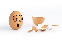 Crack Egg with funny Egg. Crack Egg with terrify funny Egg Stock Photos
