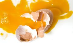 Crack egg on white background Royalty Free Stock Photography