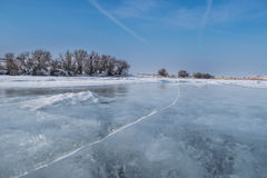 Crack frozen lake Royalty Free Stock Images