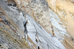 Crack in the glacier on the mountain slope Royalty Free Stock Photos