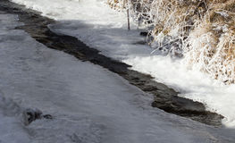 Crack in the ice on a frozen river Royalty Free Stock Images