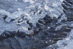 Crack in the ice on a frozen river Stock Photography