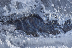 Crack in the ice on a frozen river Royalty Free Stock Photography